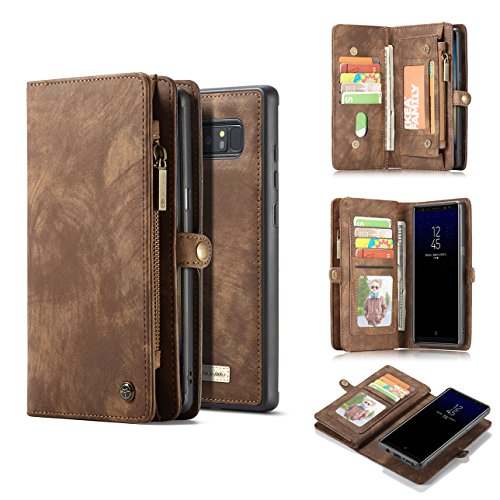 Galaxy Note 8 Case,AKHVRS Handmade Premium Cowhide Leather Wallet Case,Zipper Wallet Case [Magnetic Closure]Detachable Magnetic Case & Card Slots for Samsung Galaxy Note 8 - Brown