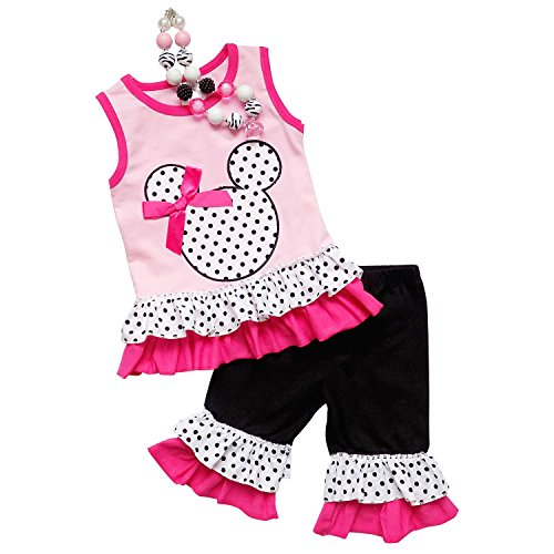 So Sydney Girls Toddler 3 Pc Polka Dot Minnie Mouse Capri Tank Outfit, Accessory (XXS (12-18 Months), (Minnie Outfit)