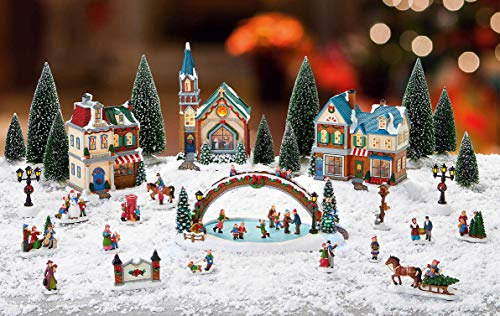 Christmas Village with Lights & Music, lighted buildings, trees, ice rink