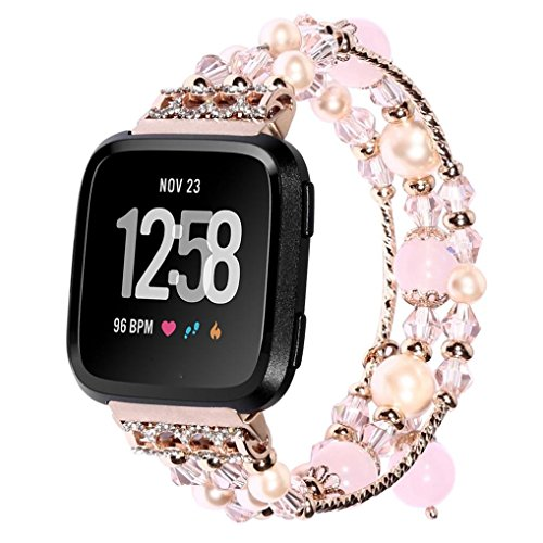 AutumnFall Fitbit Versa Bands,Replacement Band Fashionable Handmade Beaded Elastic Stretch Faux Pearl Natural Stone Bracelet Strap Wristbands for Women Girl Fitbit Versa Smartwatch (Rose Gold)