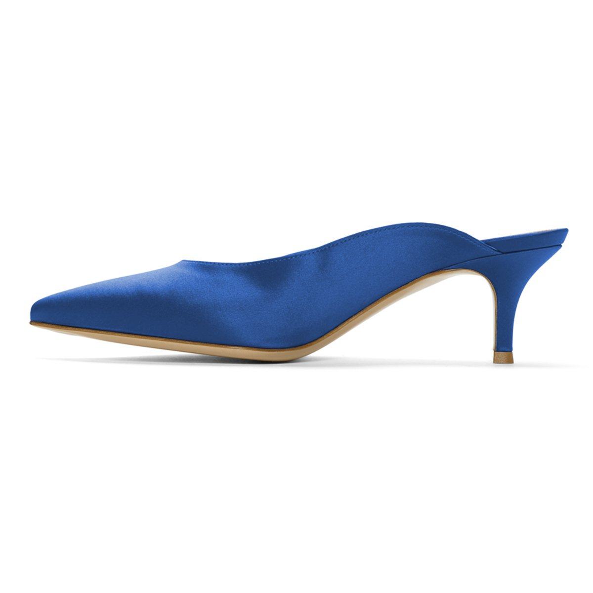 YDN Women Dress Pointed Toe Low Heel Loafers Slip on Mules Slide Sandals Shoes Blue-Stain 11