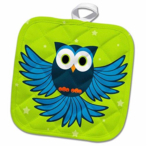 Woodland Pot Holder - 3dRose Janna Salak Designs Woodland Creatures - Cute Blue Flying Owl Under Stars - 8x8 Potholder (phl_20373_1)