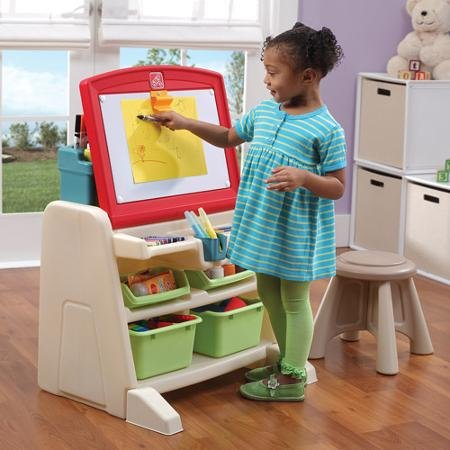 Dual Design, Flip & Doodle Easel Desk with Stool, Multicolor (Easel Desk Flip Doodle)