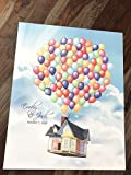"Up Themed Wedding Guestbook Alternative Guest book art print poster Disney wedding Movie Up Wedding Gift""Up"" House Balloons Anniversary Birthday Personalied gift Flying house with balloons Unframed"
