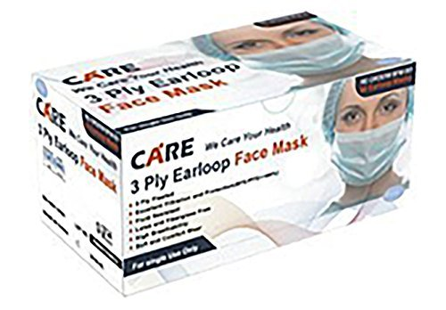 Care Plus Disposable Face Mask - 3 Ply Pleated, Earloop, Blue, 100 pc (2) ()