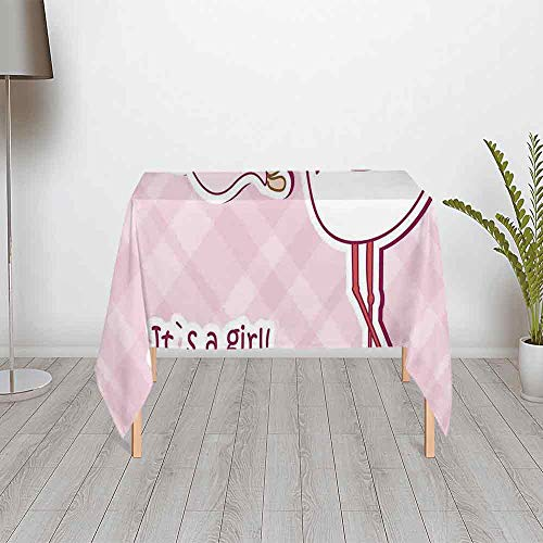 Kids Multipurpose Satin Tablecloth,Its a Girl Arrival Congratulations Cute Pink Stork Decorative for Table Outdoor Picnic Holiday Dinner,55.12''W x 55.12''H