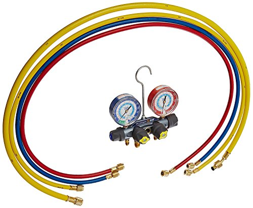 Yellow Jacket 49987 Titan 4-Valve Test and Charging Manifold degrees F, psi Scale, R-22/134A/404A Refrigerant, Red/Blue Gauges ()