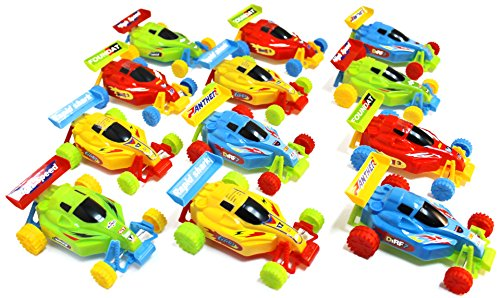 New Mini Push Pull Back Cars Kit Set, Car Racers Lot of 12 Pieces Party Favors - Assorted Car Colors