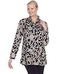 Terra-Sj Apparel Womens Long Sleeve Pullover Blouse with Convertible Collar