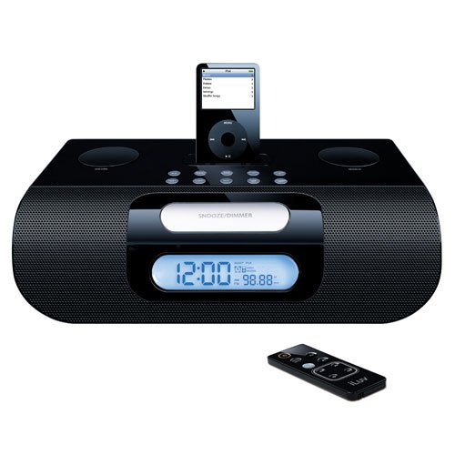 Iluv Ipod Stereo Docking - iLuv i177 Alarm Clock Speaker System for iPod (Black)