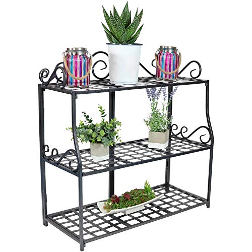 Sunnydaze 3-Tier Metal Iron Plant Stand with Scroll - Iron Rack Plant Wrought