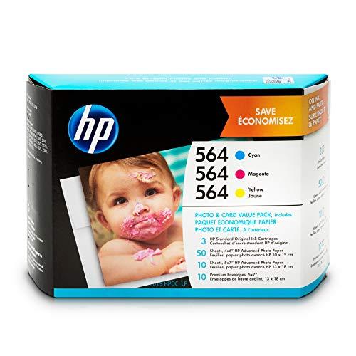 (HP 564 Ink Cartridges: Cyan Magenta & Yellow 3 Ink Cartridges - plus photo paper & envelopes (CB318WN CB319WN CB320WN) for HP Deskjet 3520 3521 3522 3526 HP Officejet 4610 4620 4622 HP Photosmart 5510)