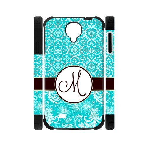 Personalized SkyBlue Vintage European Pattern Vs Maroon Circle Initials Unique Custom Samsung Galaxy S4 I9500 Best Durable Rubber+PC Two-In-One Cover Case Custom Color and Text, New Fashion, Best Gift (Htc One Mini Vs Htc One Mini 2)