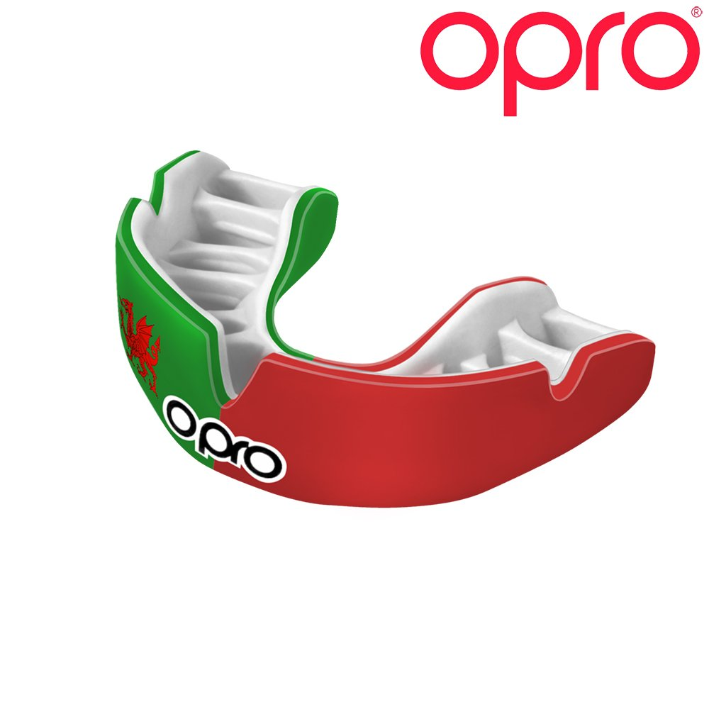 OPRO Power-Fit Countries Mouthguard   Adult Handmade Gum Shield for Football, Rugby, Hockey, Wrestling, and Other Combat and Contact Sports - 18 Month Dental Warranty (Ages 10+) (Wales)