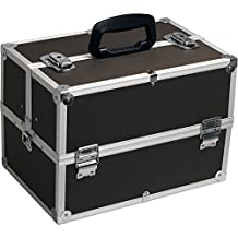 Hiker HK3501 Professional Makeup Artist Cosmetic Train Case Organizer Storage with 4-Tray and Dividers, Dot Black, 1-Count