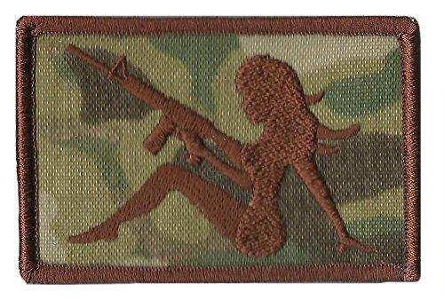 "AR-15 Trucker Girl Tactical Morale Patch - 2""x3"" - MULTICAM"
