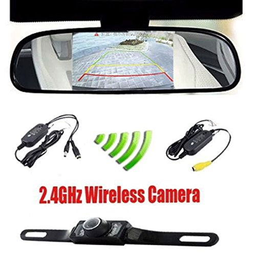 Podofo (TM)4.3 Car TFT LCD Mirror Monitor wireless Reverse Car Rear View Backup Camera Kit(Black)