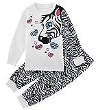 A&J Design Little Girls Zebra 2 Piece Pajamas Sets Long Sleeve Cotton PJS Children Clothes Kids Shirts (7, Zebra)