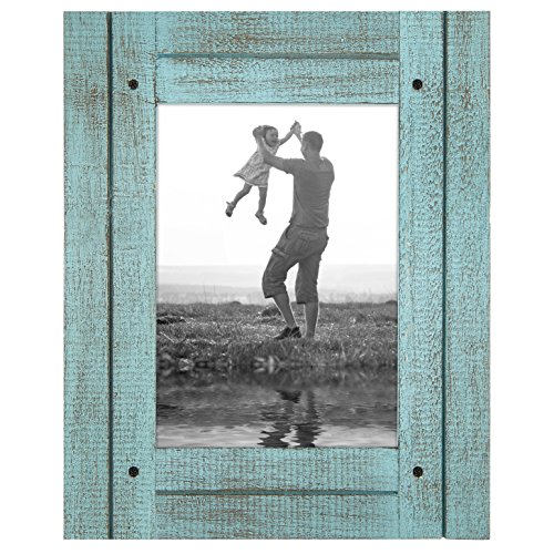 Americanflat 5x7 Turquoise Blue Distressed Wood Frame - Made to Display 5x7 Photos - Ready to Hang - Ready to Stand - Built-in ()