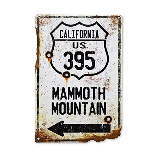 Handcrafted Vintage HWY Mammoth Mountain Steel Sign Snow Skiing Sign Snowboard Rustic Metal Sign Bullet Holes Rusted Pss