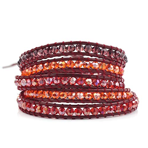 - rongji jewelry Handmade Bohemian Natural Stones Bracelet - Leather Bracelet with Chakra and Beads Wrapped for Women and Girls (Crimson)