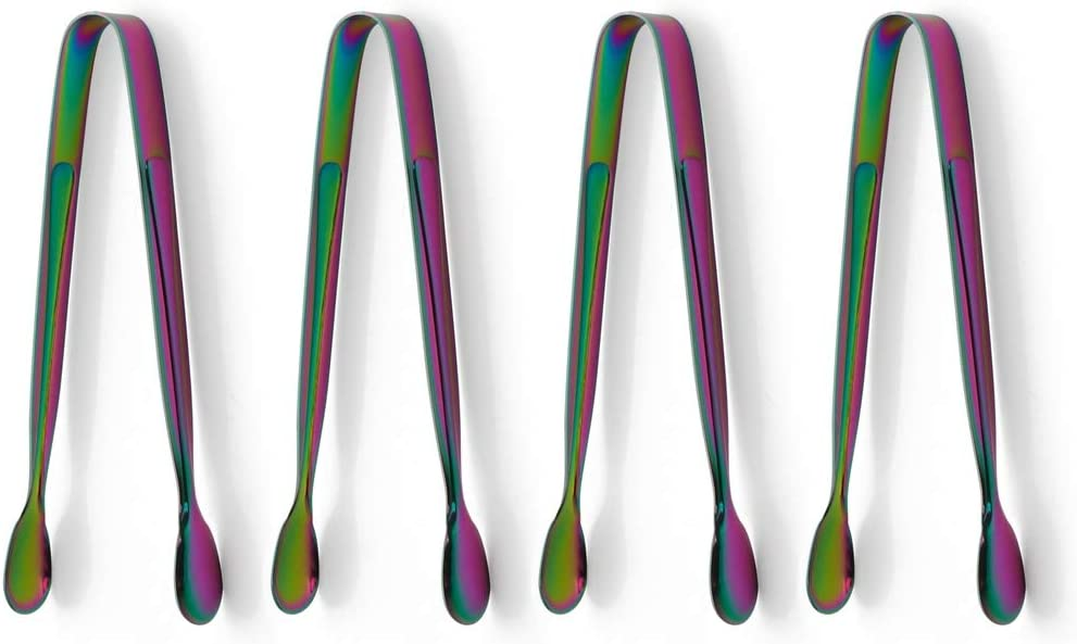 Sugar Tongs 4 Piece Stainless Steel Rainbow Multicolor Ice Mini Tongs Serving Tongs for Sugar Cube Ice Cube Tea Party Coffee Bar Silverware Utensils Dishwasher Safe 5 Inch
