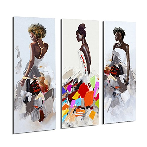 Dress Wall - Artinme Framed African American Black Art Dancing Black Women in Dress Wall Art Painting on Canvas Print Wall Picture for Home Accent Living Room Wall Decor (12 x 36 inch, Set of 3)