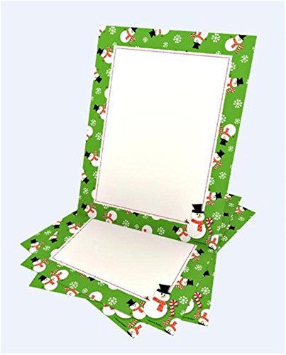 Whimsy Green Snowman Stationery - 100CT
