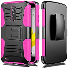 Alcatel Idol 5 6060C case, / Alcatel Nitro 5 Case, Luckiefind Dual Layer Hybrid Side Kickstand Cover Case With Holster Clip Accessory (Holster Pink)