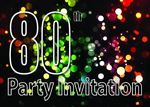 Clayfrog 10x 80th Theme Birthday Party Invitations Invites Kids Adults Men/Women Cards
