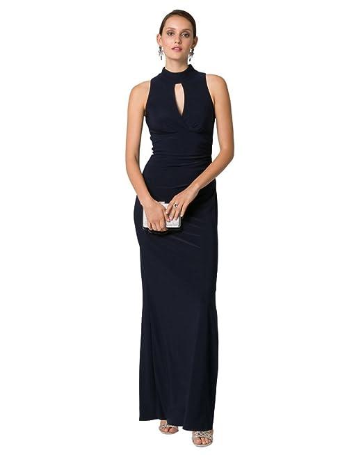 LE CHÂTEAU Women\'s Knit Mock Neck Ruched Gown,L,Navy: Amazon.ca ...