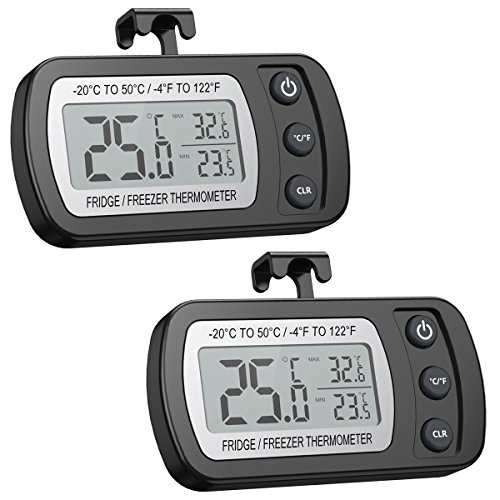 ORIA Digital Refrigerator Thermometer, Mini Freezer Thermometer, Refrigerator Freezer Waterproof, LCD Display, ℃/℉ Switch + Max/Min Record, for Kitchen, Home, Restaurants (2 Pack, Battery Included