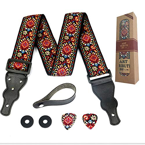 (Guitar Strap Embroidered Red Vintage Woven W/FREE BONUS- 2 Picks + Strap Locks + Strap Button. For Bass, Electric & Acoustic Guitars. The Best Guitarist Gift By Art Tribute LIFE TIME WARRANTY)
