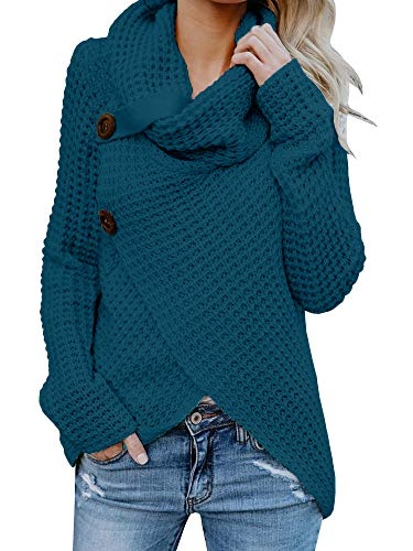 Womens Sweaters Cowl Neck Chunky Cable Knit Hooded Wrap Cardigan Pullover Sweater Coats with Button (S-XXL) (XL, Blue)