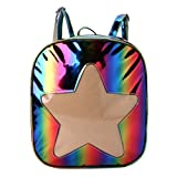 Shaoge Women Holographic Backpack Schoolbag Rainbow Shoulder Bag With Star Design