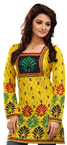Indian-Tunic-Top-Womens-Kurti-Printed-Cotton-Blouse-India-Clothes