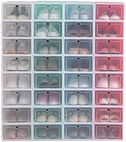 Cajas de Zapatos de plástico Plegable Zapato Caja, Cajas De Zapatos Caja De Almacenamiento Apilable Transparente Organizador De Almacenamiento De Calzado Reutilizable Para Zapatillas,Azul,32*21*12cm