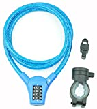 FantasyLife Bike Lock Cable, Self Coiling Cable Lock,- Resettable Combination Bicycle Security Lock, 4-Feet, Blue