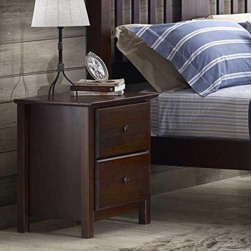 Grain Wood Furniture Shaker 2-drawer Cherry Solid Wood Nightstand Includes our Exclusive Decorating eBook (Wood Solid Company Furniture)