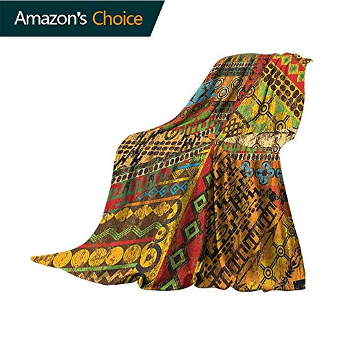 (African Throw Blanket,Grunge Collage with Ethnic Motifs Tribal Ancient Traditional Art Ornate Geometric Flannel Blankets Super Soft Warm Thick Blanket for Home,35