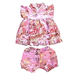 Buenos Ninos Girls Short Sleeve Cheongsam Baby Qipao Patterned Cloth Set Pink Peony S