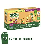 GoGo squeeZ Fruit & VeggieZ on the Go, Variety Pack (Pear/Berry), 3.2 Ounce (12 Pouches), Gluten Free, Vegan Friendly, Healthy Snacks, Unsweetened, Reusable, BPA Free Pouches