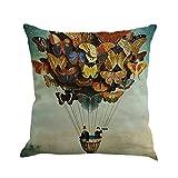Decorative Pillow Cover - Butterfly Throw Pillow Cases, Kimloog Square Flax Cushion Cover Car Sofa Home Decorative 18x18 Pillowcase (C)