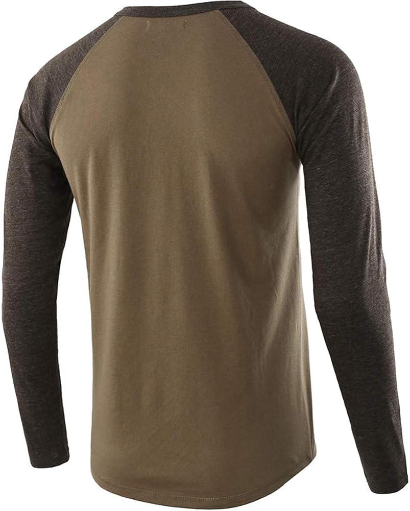 de algod/ón Tallas S-2XL Camisa de Manga Larga para Hombre con dise/ño de Camisa Henley con Botones de Medio bot/ón