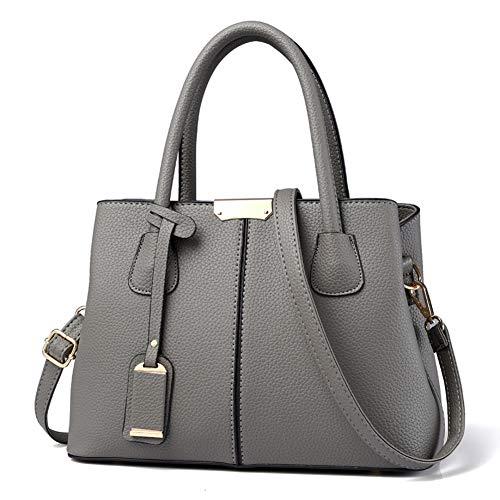 Covelin Women's Top-handle Cross Body Handbag Middle Size Purse Durable Leather Tote Bag Dark Grey