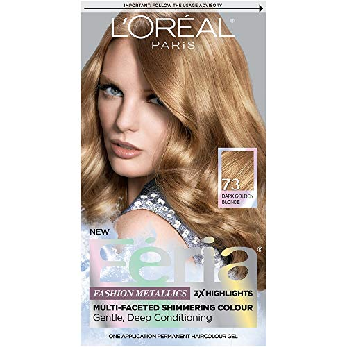L'Oreal Paris Feria Multi-Faceted Shimmering Color, Dark Golden Blonde [73] (Warmer) 1 ea (Pack of 2)
