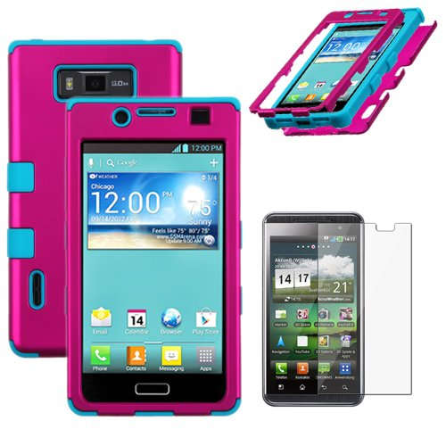 MINITURTLE, Premium Sleek Dual Layer 2 in 1 Hybrid Protective TUFF Case Cover and Screen Protetor Film for Prepaid Android Smartphone LG Optimus Showtime L86C / L86G and LG Optimus Ultimate L96G from Straight Talk (Pink / Blue), Best Gadgets