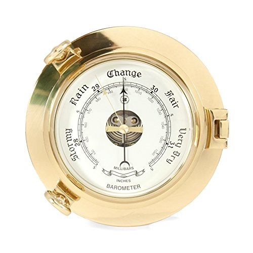 Time Factory AJ-SB413 Lacquered Brass Porthole Barometer with Beveled Glass