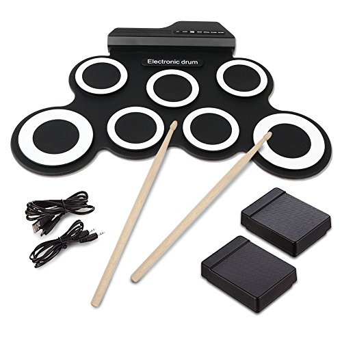 Electronic Roll up Drum,Hizek 7 Pad Portable Electronic Drum Pad kits Foldable Practice Instrument with 2 Foot Pedals and Drum Sticks for Beginners and Children(Battery Not Included)