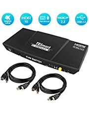 TESmart HDMI KVM Switch 2/4 Port 4K@60Hz, HDCP2.2, HDR10, Audio Out, Dolby Vision, Dolby/DTS, 2/4 Computer to 1 Monitor